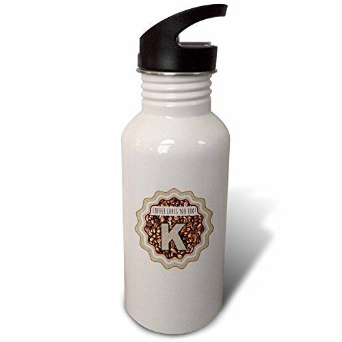 3dRose Russ Billington Coffee Monograms Letter K - Initial K- Coffee Loves You Too Monogram design - Flip Straw 21oz Water Bottle wb_251781_2