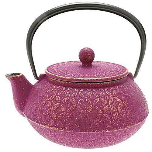 Iwachu 480-877 Seven Jewels Design Japanese Iron Tetsubin Teapot Gold and Purple