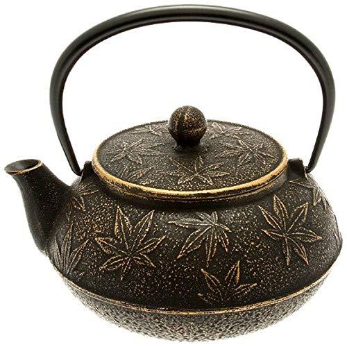 Iwachu Japanese Iron TeapotTetsubin Gold and Black Maple