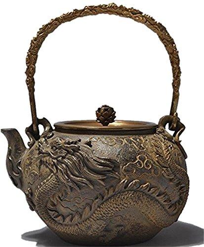 RUIKA Japanese tetsubin Cast Iron Teapot Dragon and phoenix pattern Kettle 1400ml 48 Ounce wooden gift box