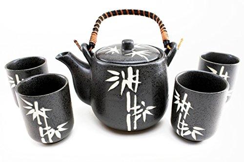 6 Black Bamboo Japanese Ceramic Tetsubin Teapot Teacups Infuser with Rattan Handle Tea Set