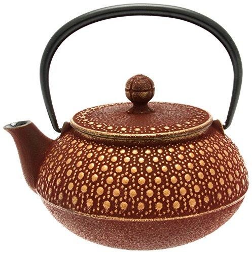 Iwachu Japanese Iron Tetsubin Teapot Honeycomb Gold and Burgundy