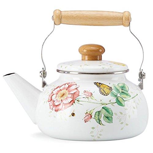 Lenox Butterfly Meadow Stove Top Hot Water Tea  Coffee Kettle  Teapot Shaped Kettle
