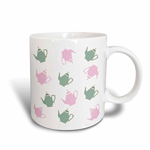 Florene Décor III - Image of Vintage Style Green And Pink Teapots - 15oz Mug mug_236211_2