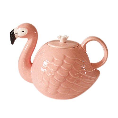 SOCOSY Cartoon Animal Teapot  Cute Ceramic Pink Flamingo Shape Tea Kettle Teapot Water Jug 21oz
