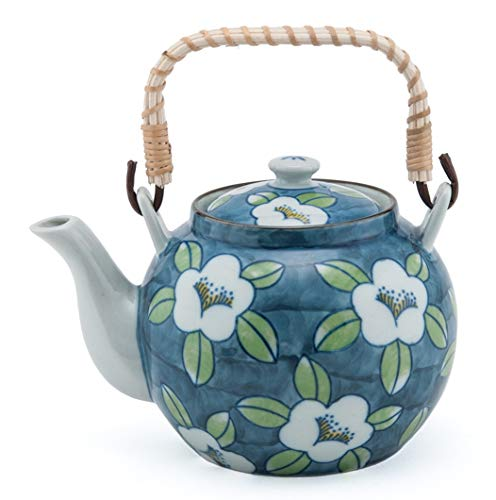 Japanese Style Porcelain White Cherry Blossom Design Blue Ceramic Dobin Teapot with Rattan Handle 38 fl oz Teapot with Stainless Steel Infuser Strainer for Loose Leaf Tea Tea Pot