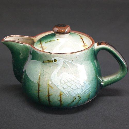 Kutani pottery teapot pot spray heron with tea strainer japan import