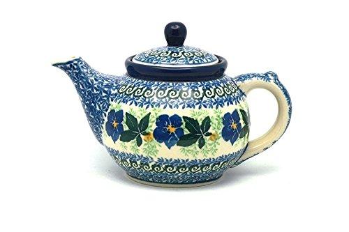Polish Pottery Teapot - 14 oz - Blue Pansy