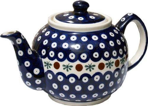 Polish Pottery Teapot From Zaklady Ceramiczne Boleslawiec 596-41 Nature Pattern Height 56 Capacity 09 Qt