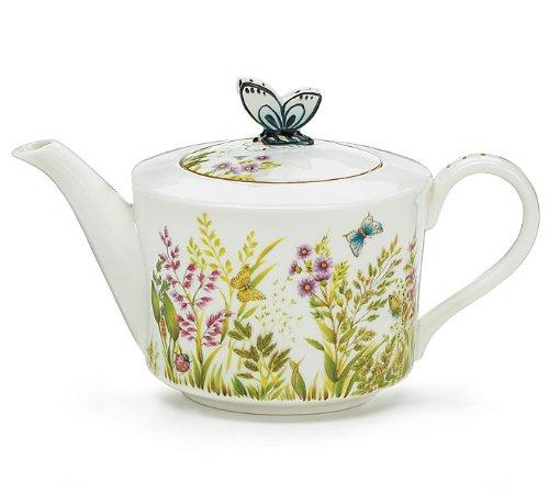 Majestic Meadow Butterfly Porcelain Teapot