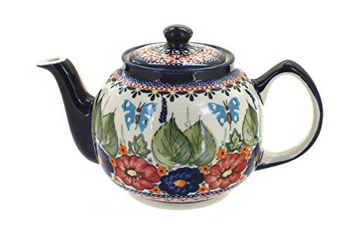 Polish Pottery Floral Butterfly Teapot