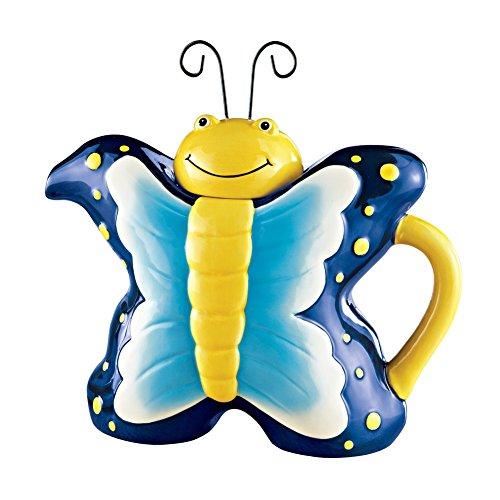 Unique Springtime Butterfly Teapot Blue
