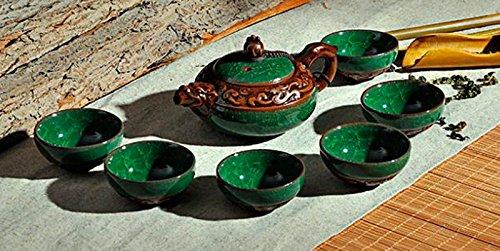 Green Ice Crack Glaze Ceramic Dehua Kung Fu Tea Set Dragon Teapot