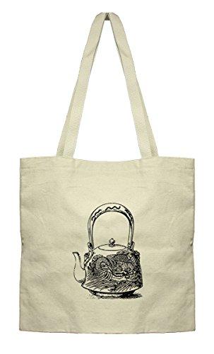 Japanese Dragon Teapot Vintage Look Canvas Flat Tote Cotton Bag Market Bag
