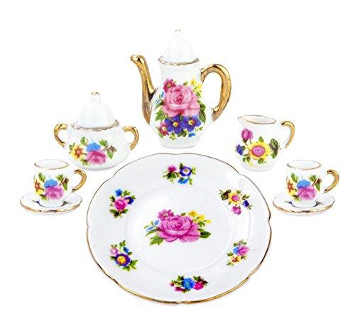 10 Pieces Miniature Porcelain Tea Set with Teapot Cups Plate Saucers Cream Sugar w Lid