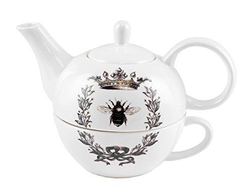 Queen Bee Teapot Cup Stackable Tea Set of 2