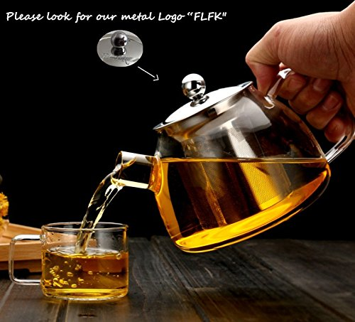 Guanxing 30Ounce 900ml Glass Teapot with Stainless Steel Infuser Lid Borosilicate Glass Tea Pots Stovetop Safe Best Gift for Father