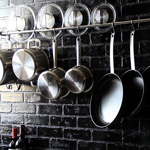 Lyon Stainless Steel Gourmet Kitchen 4725 Inch Wall Mount Rail and 10 S Hooks Set Utensil Pot Pan Lid Rack Storage Organizer  Silver