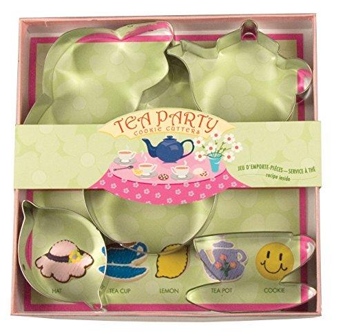 Fox Run Tea Party Cookiebiscuit Cutters Metal 5 Piece Teacuppotsaucerhat New