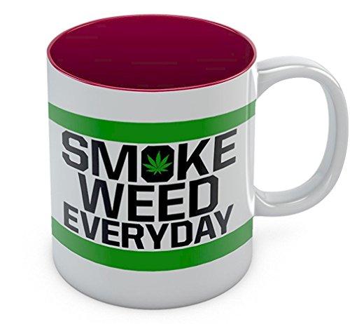 Smoke Weed Every Day Coffee Mug - Marijuana Cannabis Smoking - Weed Day Gift For Coffee Tea Lovers - Funny Birthday Gift for Your Stoner Freinds - Great Tea Cup Pot Smoking Ceramic Mug 11 Oz Red