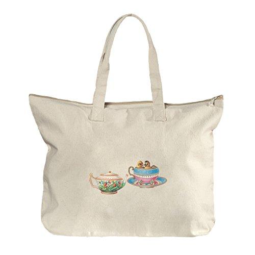 Tea Cup And Pot Vintage Look Canvas Beach Zipper Tote Bag Tote
