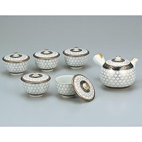 Japanese drawn Ceramic Porcelain kutani ware Japanese kyusu teapot cup set Kikko hexagonal pattern of tortoiseshell pattern Japanese ceramic Hagiyakiya 592