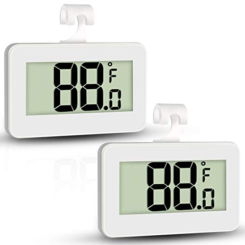 AOVIOANDY Mini Refrigerator Fridge Thermometer 2 Pack Digital Freezer Thermometer Waterproof Room Thermometer with Hook Large LCD Display