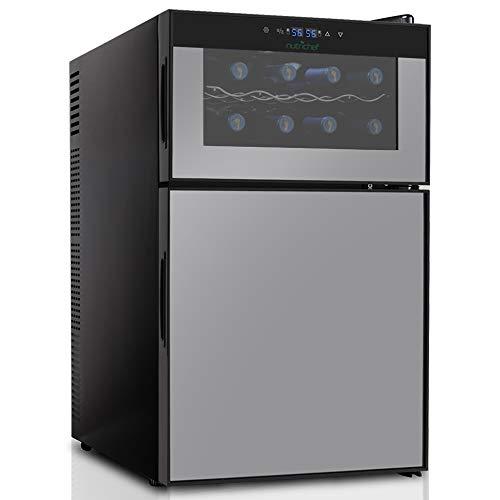 NutriChef PKTEWBC240 Wine Cooler and Mini Fridge - Two Door 8 Bottle Chiller Cellar Top-16 Can Beverage Refrigerator Digital Touch Screen