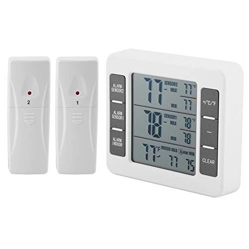 Wireless Digital Audible Alarm Refrigerator Thermometer with 2PCS Sensor MinMax Display for IndoorOutdoor Refrigerator
