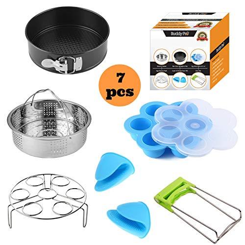 Pressure Cooker Accessories Set Compatible with Instant Pot 568 Qt - Instapot Accessory Kit Steamer BasketEgg Bite MoldNon-Stick SpringForm PanEgg Steamer RackMitt Best Gift Idea by Buddy Pro