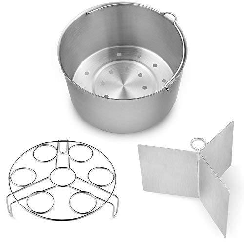 Vookoon Steamer Basket 304 Stainless Steel Steamer for Instant Pot Food Steamer with Durable Construction Removable Dividers and Egg Rack Trivet Included Fits 68 qt Instant Pot Pressure Cooker