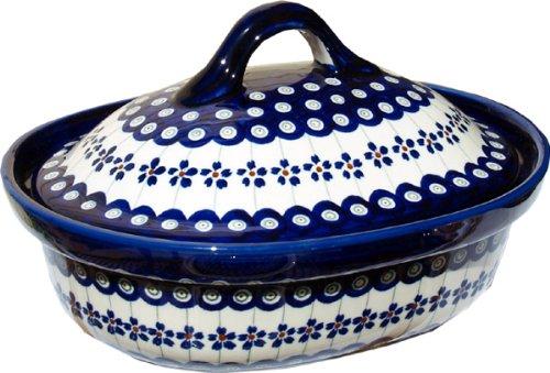Polish Pottery Oval Casserole Dish From Zaklady Ceramiczne Boleslawiec #1156-166a Floral Peacock Classic Pattern