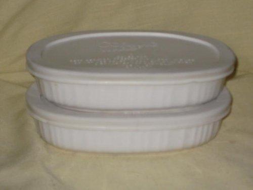 Set Of 2 - Corningware French White 15 Ounce Oval Casserole Baking Dishes W/ White Plastic Lids