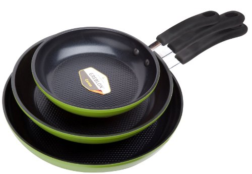 Green Earth Frying Pan 3-Piece Set by Ozeri 8 10 12 with Textured Ceramic Non-Stick Coating from Germany 100 PTFE PFOA and APEO Free