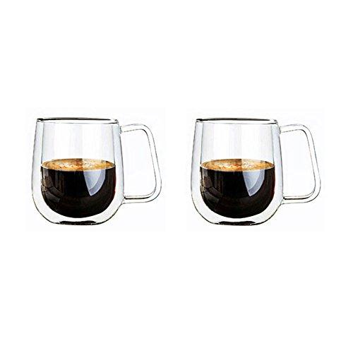Li Da Sen 12 oz Insulated Coffee Glass Set of 2 - Double Wall Drinking Glasses Thermal Tumbler Mug for Water Tea Latte Espresso or Juice - Glassware Cups - Lead Free Clear Mugs