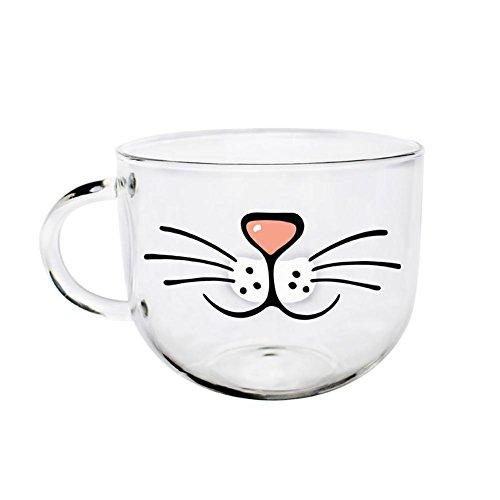 BleuMoo Cute Cat Clear 550ML Glass Coffee Cup Transparent Water Mug