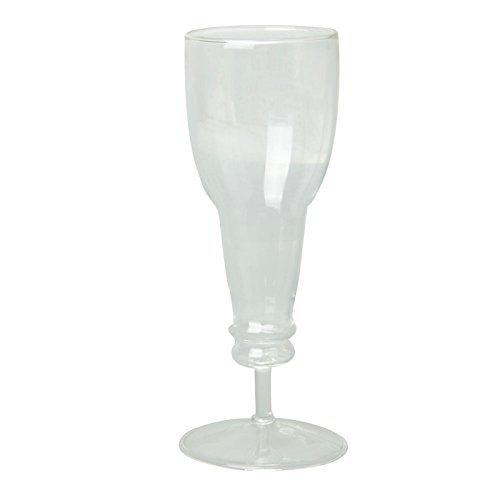 Great Value Beer Deaux Upside Down Beer Bottle Shape Longneck Wine Glass Transparent by MugCup
