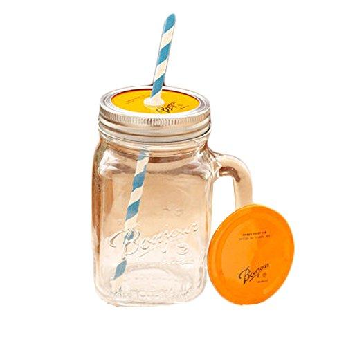Orange Cap Transparent Mug Glass Cups with Straw Tea Milk Travel School