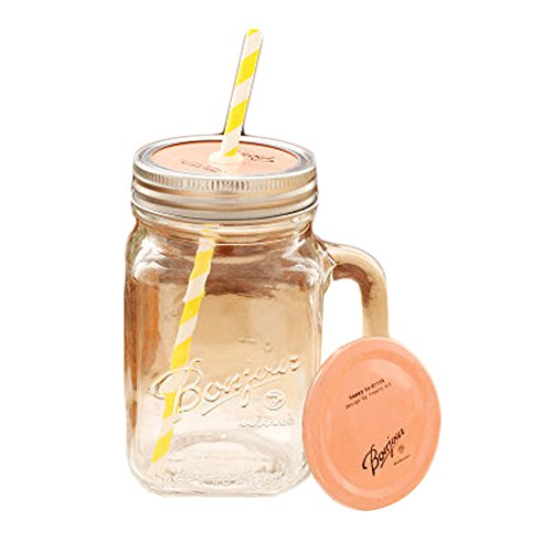 Peach Pink Cap Glass Transparent Mug Cups with Straw for Travelling Office