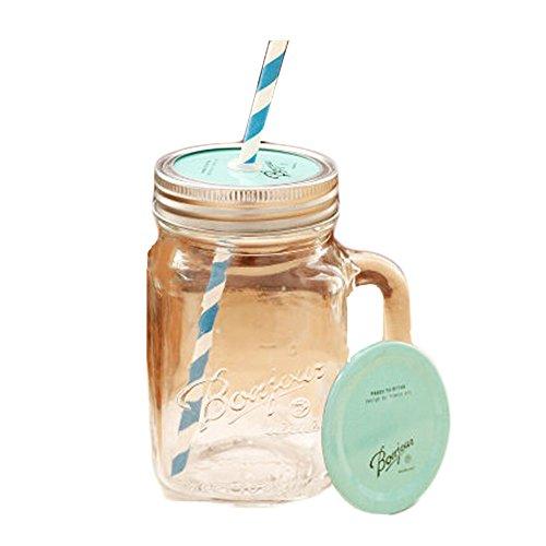 Transparent Mug Mint Cap Glass Cups with Straw Tea Milk Coffee Juice