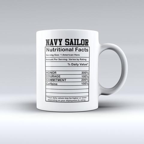 Navy Sailor Nutrition Label Coffee Mug