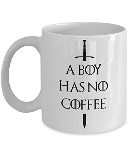 A Boy Has No Coffee Funny Novelty Acrylic Coffee Mug 11oz White