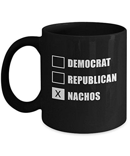 Democrat Republican Nachos Funny Political Black Novelty Acrylic Coffee Mug 11oz