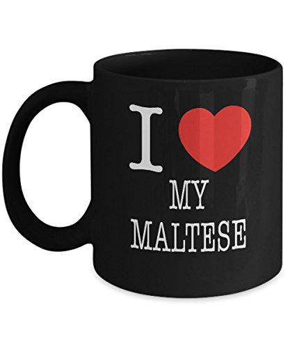 I Heart My Maltese Dog Lover Acrylic Coffee Mug Black 11oz