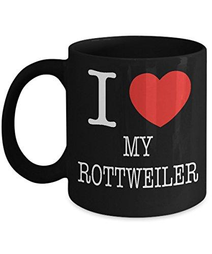 I Heart My Rottweiler Dog Lover Acrylic Coffee Mug Black 11oz
