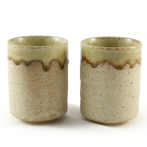 Japanese Stoneware Coffee Cup - Sand Glazed Wagamama Style Handleless Tea Cups Pair