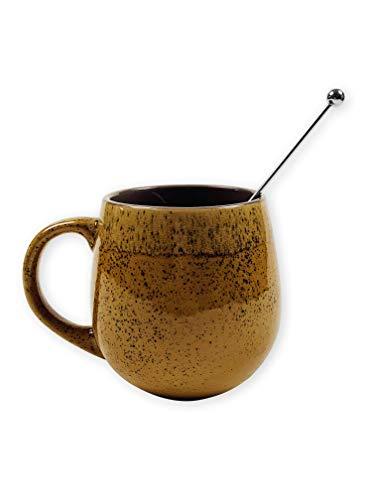 Gibson HomeStone Lodge 18 oz Coffee Mug Large Coffee Mugs Tea Cups Bundle Mug Coffee Stirrer Amber wstirrer