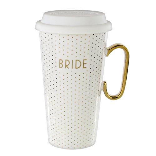 White Ceramic Travel Mug Lid 18 Oz Coffee Mug for Bride - White Gold Bridal Mug with Handle