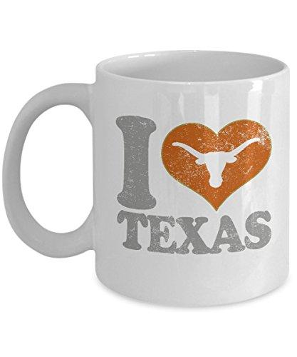 I Love Texas Coffee Mug - 11oz White Ceramic Tea Cup Football Austin Sports Holiday Christmas Gift For Texas Fan With Longhorn Print