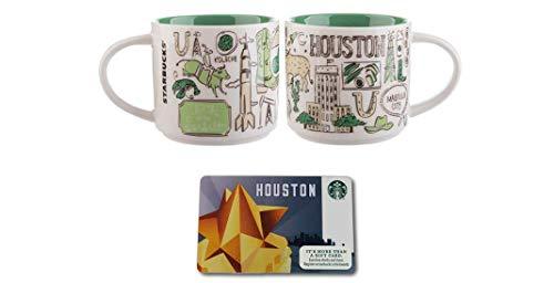Starbucks Houston Texas Coffee Mug - Been There Series - With Limited Edition Starbucks Houston Gift Card - Collectible No Value - 14fl oz  414ml - Starbucks Coffee Mug Gift Set
